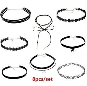 Jewelry - 8 Piece Black Choker Necklace Set
